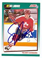 Eric Lindros autographed hockey card (Flyers Team Canada) 1991 Score No.88T