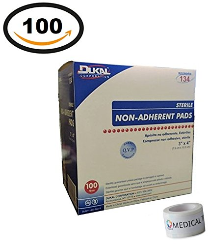 Sterile 3x4 Non-adherent Pads (Pack Of 100) + 1 Roll Of Vakly Medical Tape (Non Adherent Sterile Gauze Dressing)
