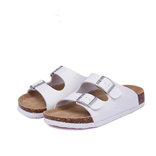 Women Beach Sandals ZHOUZJ Summer Double 11 Buckle Casual Slippers Cork Printed ASYAOwqI