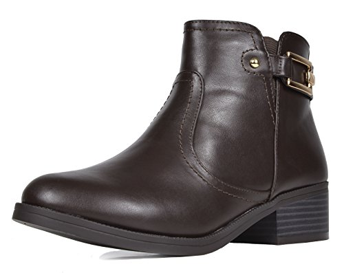 TOETOS Women's Alexis Low Stacked Heel Ankle Riding Booties Brown Pu-03