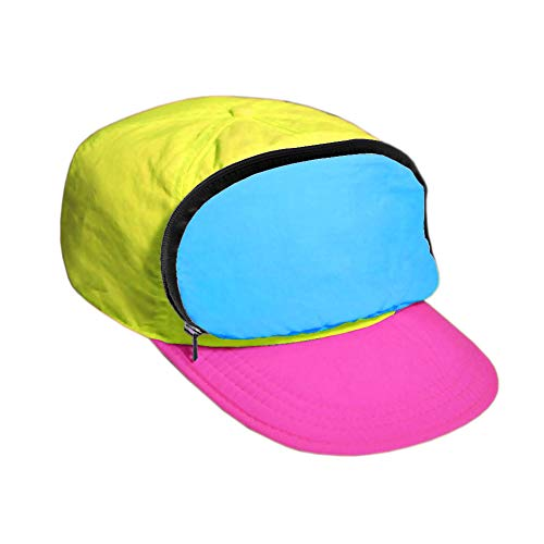 (Fanny Pack hat for Your Head - Nylon Cap with Zipper Pocket and Adjustable Closure - Mens Hats/Womens Hats (CMYK - Neon Yellow, Turquoise and)