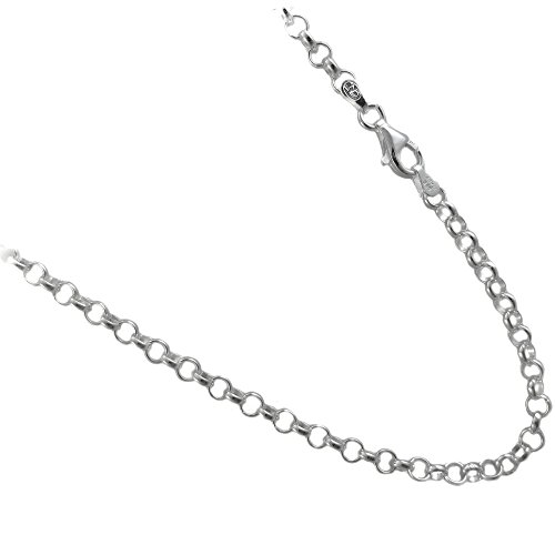 JOSCO 4mm Rolo Chain .925 Italian Sterling Silver Necklace. 16,18,20,22,24,30 Inches Available (18 - Rolo Inch Silver Sterling 18