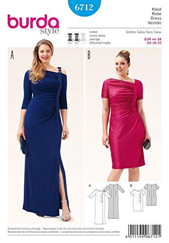 Burda Ladies Plus Size Sewing Pattern 6712 Evening Dresses Amazon