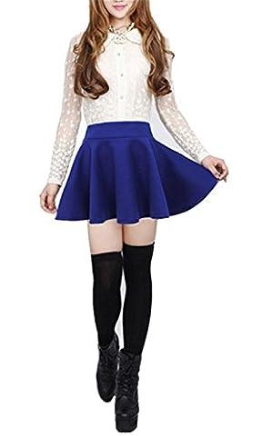 ompson Women Girls Stretch Waist Flared Plain Pleated Casual Mini Skater Skirt (Small, Blue) - Las Vegas Wedding Invitation Wording
