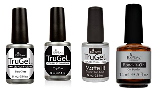 EZflow TruGel Pro Pack(Gel Bonder, Base Coat, Top Coat, Matte Top - Ezflow Gel
