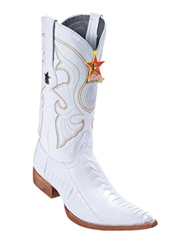 Western Skin Altos Toe Los Leg Ostrich Leather Genuine 3X Boots Men's White 6qz7S1
