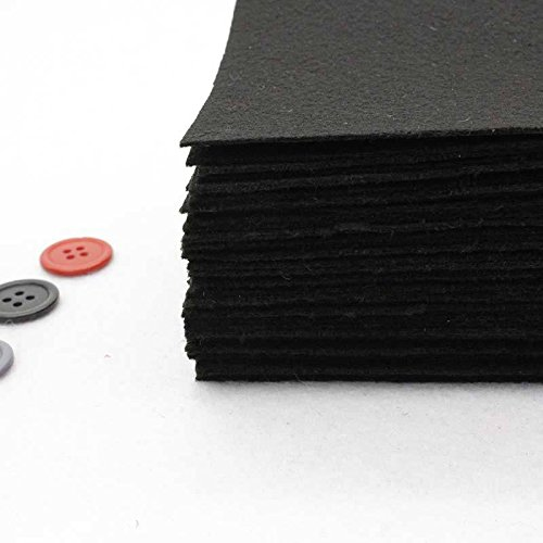 Funnytoday365 40 Pieces Black Color 1mm Polyester Felt Fabric for Needlework DIY Sewing Handmade Felt Fabric Fieltro Feltro Nonwoven Colth