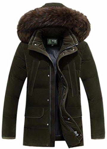 Jacket Thicken Coat Down Cotton Brd Green Men's UK Outwear Hooded Faux Fur Hot C814Rn