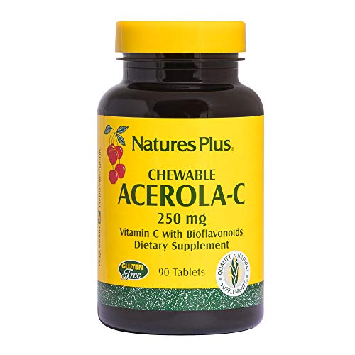 Natures Plus Acerola-C Complex Chewable, 250mg Vitamin C, 90 Vegetarian Tablets - Whole Fruit Supplement, Promotes Immune Support, Antioxidant - Gluten Free - 90 ()