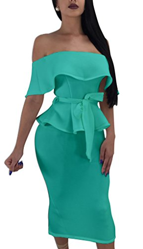 Women Elegant Off Shoulder Ruffle Cocktail Party Midi Dress Suit Bodycon Skirt Two Piece Set Green XL ()