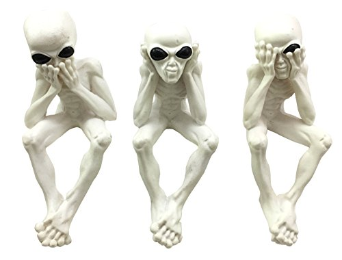 Glow In The Dark Three Wise E.T. Aliens See Hear Speak No Evil Outer Space Creatures Collectible Figurine Set of 3 For Shelf Decorative Sitters