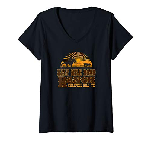 Womens Half Mile Road Ranch Chappell Hill Texas V-Neck T-Shirt