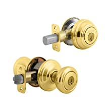 Kwikset 991 Cameron Entry Knob and Single Cylinder Deadbolt Combo Pack featuring SmartKey in Polished Brass