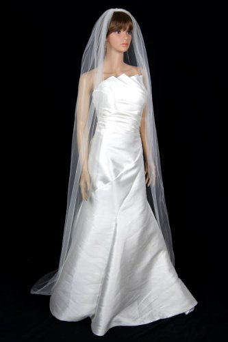 Bridal Wedding Classic Veil Ivory 1 Tier Long Chapel Length Standard Cut Edge by Velvet Bridal (Image #1)