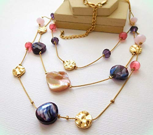 (Abalone Shell Pink Purple Moonglow Bead Layered Multi-Chain Gold Necklace for Women B19)
