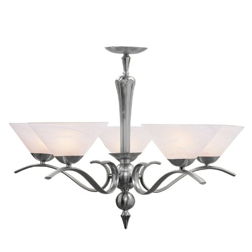 Livex Lighting 8005-91 Chandelier with White Alabaster Glass Shades, Brush Nickel (Light Brush Chandelier)