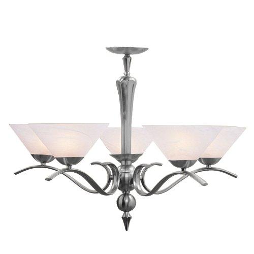 Nouveau Brass Chandelier - Livex Lighting 8005-91 Chandelier with White Alabaster Glass Shades, Brush Nickel