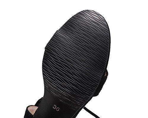 Sandales Lacet GMBLA013110 d'orteil Ouverture Correct Noir Talon AgooLar à Femme gPTqSS