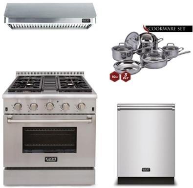 """Kucht 4-Piece Kitchen Package with KRG3080U 30"""" Gas Freestan"""