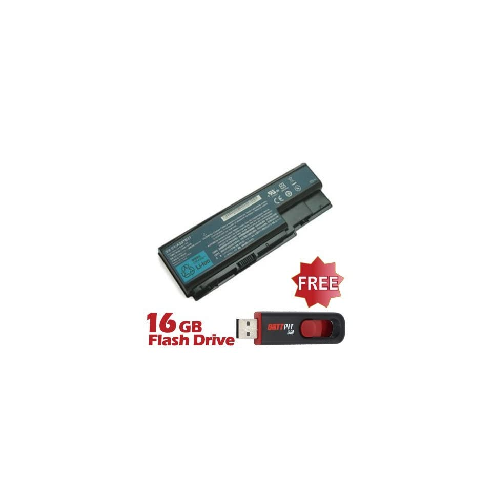 Battpit™ Laptop / Notebook Battery Replacement for Acer Aspire 7520 5185 (4400mAh / 65Wh) with FREE 16GB Battpit™ USB Flash Drive