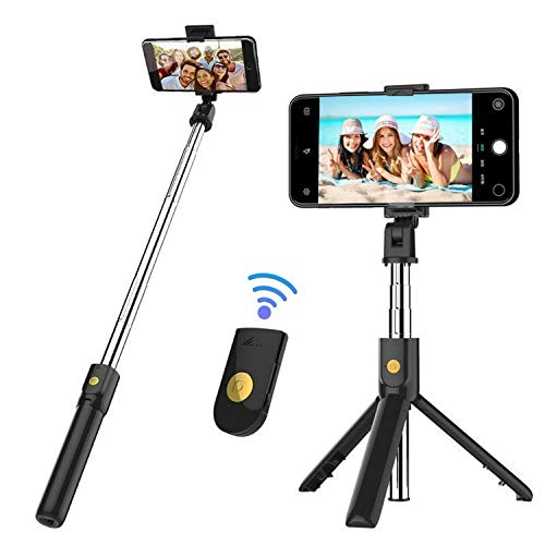 Venfoto 4344253162 Selfie Stick, 39.4 in Extendable Selfie Stick Tripod Compatible I-Phone/Samsung/Gopro-Wireless Remote Bluetooth Phone Holder Compatible I-OS System and Android 4.3 System Above