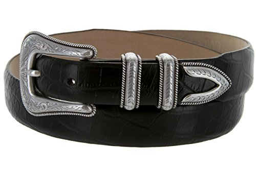 Brenton - Men's Italian Calfskin Designer Dress Golf Belt with Western Silver Plated Buckle Set (34 Alligator Black) - Black Calfskin Belt Strap