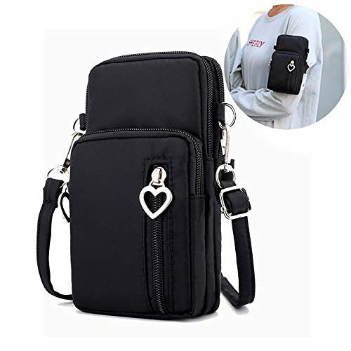 Mini Zip Arm Bag, Techcircle Nylon Cellphone Pouch Crossbody Shoulder Bag Lightweight Running Armband Clutch Purse Bag for iPhone Xs Max/8 Plus/7 Plus, Galaxy S10 Plus/Note 7, LG G8/G7/G6, -