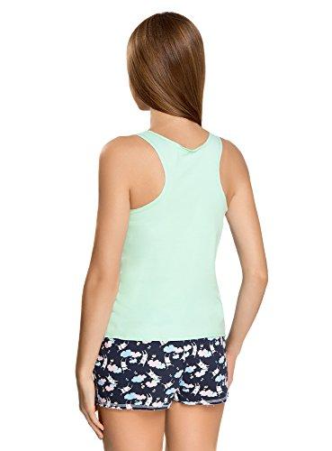 oodji Ultra Mujer Pijama de Camiseta de Tirantes y Pantalón Corto con Estampado Verde (6579P)