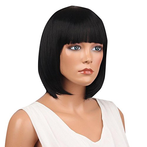 Suppion Women Short Straight Full Bangs Bob Hairstyle Synthetic Hair Full Wig (Black)