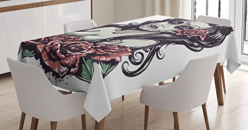 [Girly Decor Tablecloth by Ambesonne, Dead Sexy Girl with Roses Mexican Sugar Skull Makeup Aztec Culture Goddess Zombie Concept, Dining Room Kitchen Rectangular Table Cover, 52 X 70] (Sugar Skull Makeup Ideas)