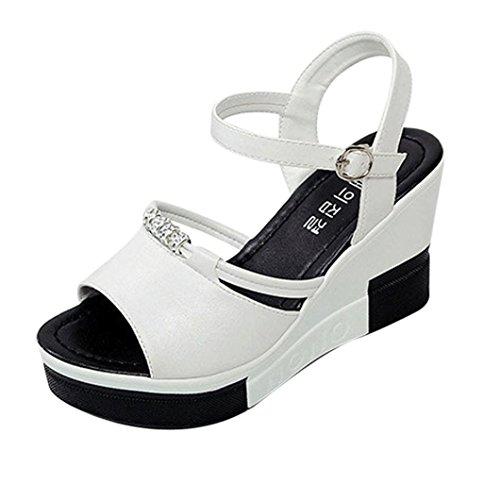 Sandalias Mujer Plataforma, Culater Zapatos de Verano Open Toe Blanco