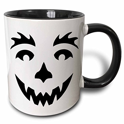 3dRose Anne Marie Baugh - Halloween - Cute Black Smiling Halloween Pumpkin Face - 11oz Two-Tone Black Mug (mug_216820_4) (Halloween Pumpkin Faces Pics)