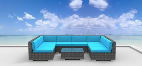 UrbanFurnishing.net 9b-Tahiti-Seablue 9 Piece Modern Patio Furniture Sofa Sectional Couch Set