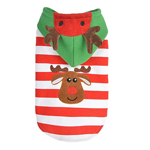 Christmas Pet Dog Puppy Hoodie Striped Style Warm