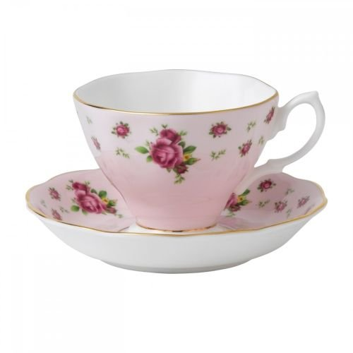 Royal Albert 8703026135 New Country Roses Formal Vintage Boxed Teacup and Saucer Set, Pink ()