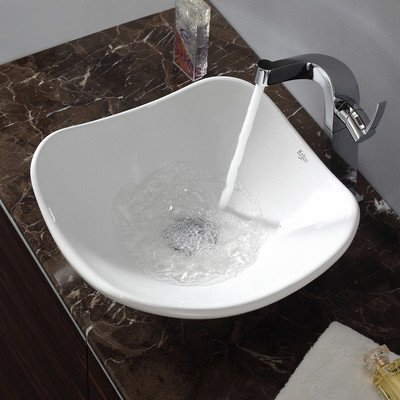 Kraus KCV-135 Tulip Ceramic Bathroom Sink, White