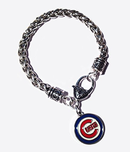 Chicago Single (Chicago Cubs Bracelet - with Single Side Charm Antique Silver Lobster Claw - Shipped from USA - Cubs Baseball Memorabilia Jewelry - Great)
