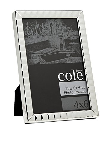 Philip Whitney 8x10 Thin Silver Studded Picture Photo Frame in Geometric Square Design Standing Horizontal or Vertical
