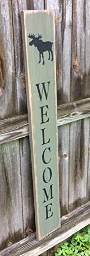 (CELYCASY S293 Moose Welcome. Handmade, Wood. Long Sign with Saying.)