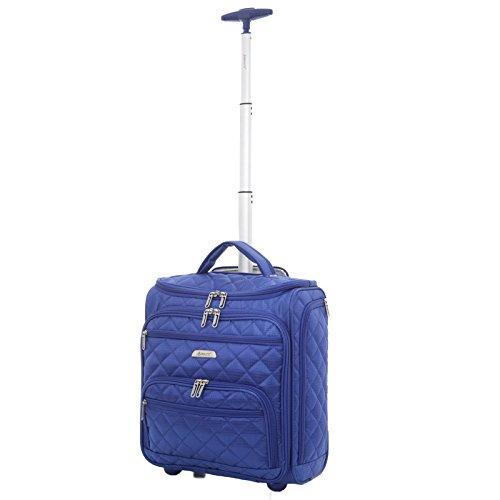 Aerolite - Aerolite Carry On Under Seat Wheeled Trolley Luggage Bag (Midnight Blue)