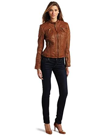 MICHAEL Michael Kors Women's Zip Front Jacket, Luggage Brown, X-Small