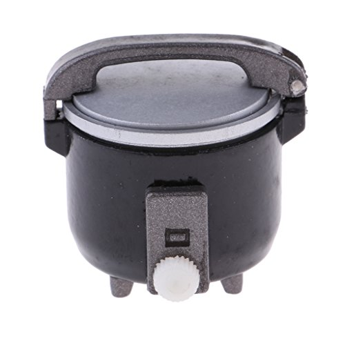 D DOLITY 1:12 Dollhouse Kitchen Miniatura Olla de Arroz Eléctrica Modelo de Electrodomésticos de Plástico - Negro
