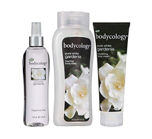 Bodycology Body 3 Piece Set Fragrance Mist Spray, Body Cream, Body Wash Pure White Gardenia