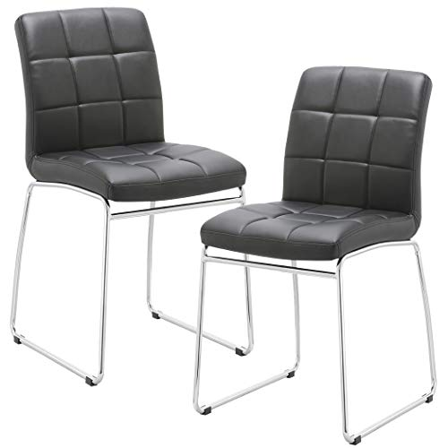 Guest/Reception Dining Chair with Faux Leather Set of 2 Duhome WY-732 Stool (Black) ()