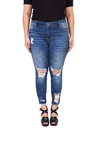 c41fd15b24779 Cello Jeans Women Plus Size Middle Rise Distressed Cropped Skinny Jeans 22  Medium Denim