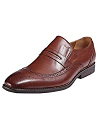 ROYAL WIND Men's Brown Embossed Wingtip Slip-on Dress Shoes