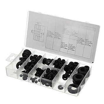 125-tlg Durchgangstüllen Sortiment Gummi-Tüllen Set-Box Kabel Durchführung Satz