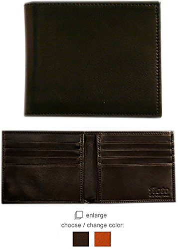 Floto Mens [Personalized Initials Embossing] Leather Double Billfold Wallet in Black Italian lambskin leather