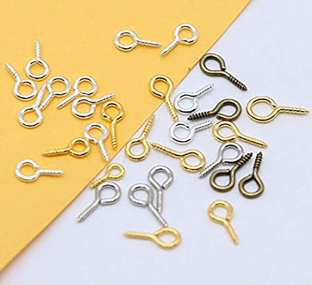 Kamas 500p 8//10//12//13mm Gold Silver Plated Eye Peg Bail Top Pins Screw Clasps Hook Eyelets Threaded w//Loop for Half Drilled Beads Pin Color: Randomly Mix Colors, Size: 4x8mm