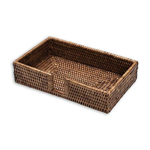 Holder Rattan - Entertaining with Caspari Rattan Guest Towel Holder, Brown, 1-Count (HG01)